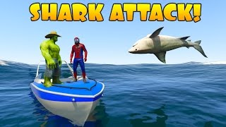 Video Hulk and Spiderman vs Shark Attack.  Learn animals 3D cartoon for Kids MP3, 3GP, MP4, WEBM, AVI, FLV Mei 2017