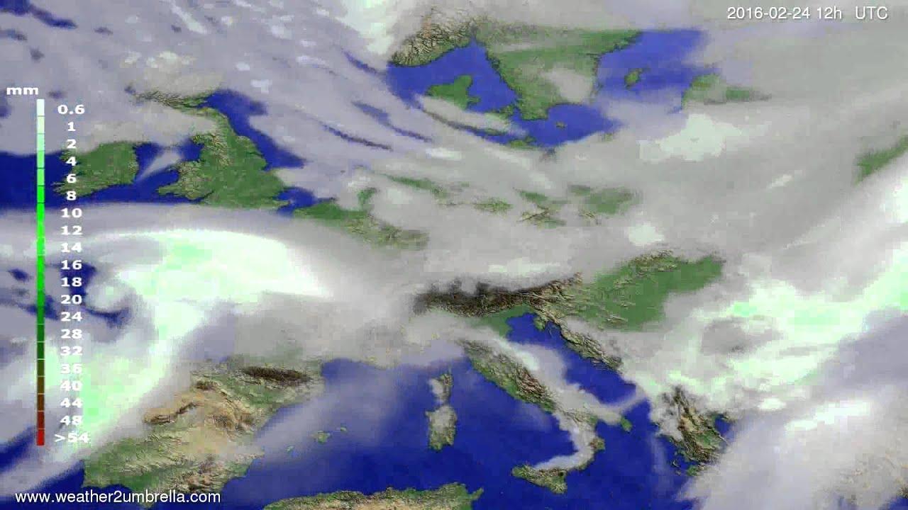 Precipitation forecast Europe 2016-02-22