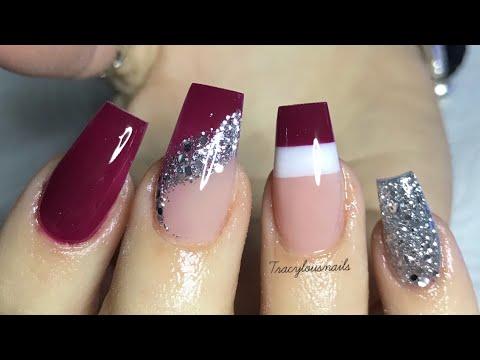Acrylic nails - STUNNING ACRYLIC DESIGN  COLOUR BLOCKING