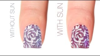 Rose Outline Color-Changing Nail Art Design