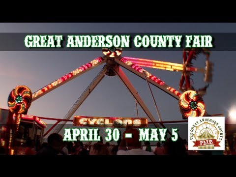 Anderson Fair - http://www.thegreatandersoncountyfair.com/ Anderson comes alive with the return of the Great Anderson County Fair April 30th -- May 5th at the Anderson Sport...