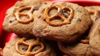 Caramel Pretzel Chocolate Chip Cookies by Tasty