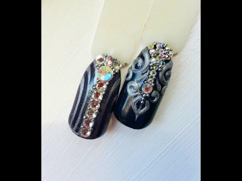 Как клеить стразы на гель лак, дизайн ногтей со стразами 74