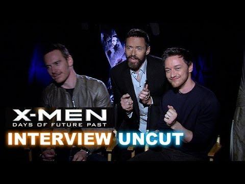 X-Men Days of Future Past Interview! Jackman photobombs Fassbender & McAvoy!  - Beyond The Trailer