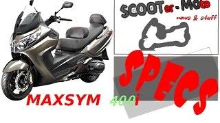 9. SPECS: SYM MAXSYM 400i CBS/ABS specifications