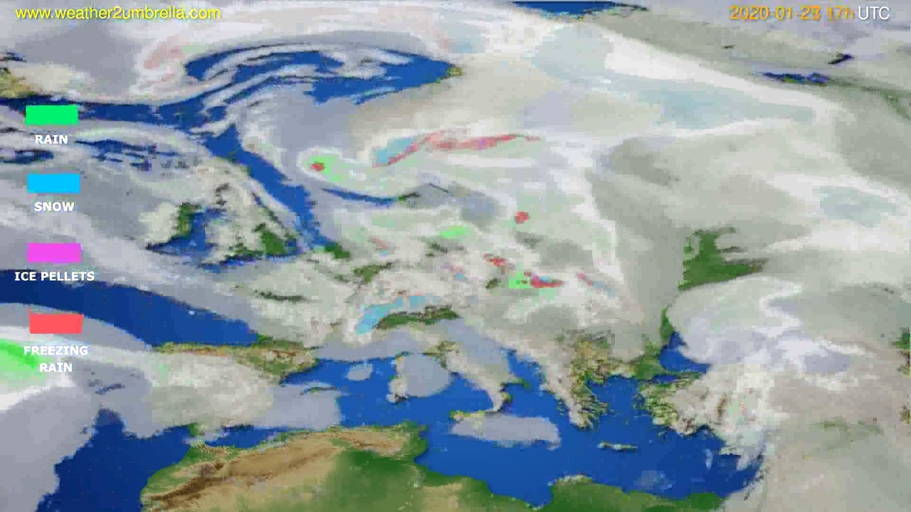 Precipitation forecast Europe // modelrun: 12h UTC 2020-01-27