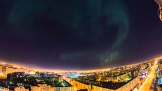 Northern Lights in Saint Petersburg Russia 17th March 2015 Timelapse