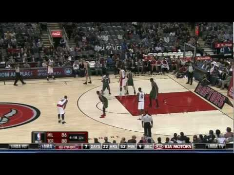 [10.22.12] Kyle Lowry - Really High Arching Floater vs Bucks (Didn't Count)