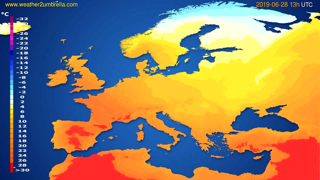 Temperature forecast Europe // modelrun: 12h UTC 2019-06-26