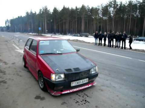 tuned fiat uno turbo vs. honda civic drag race