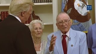 "AMAZING: President Donald Trump Visits with Survivors from the USS ArizonaLIKE  COMMENT  SHARE  SUBSCRIBE & HIT THAT BELL TO NEVER MISS OUT! THANKS!――――――――――――――――――――――――――――――► Welcome to the President Donald Trump News Channel!► We Bring You The Latest News & Politics► Remember to Click the 🔔 BELL next to Subscribe Button► To Turn on Notifications! Thanks!► Subscribe ➠ Like ➠ Comment ➠ Share! ► Relax & Have a Great Time! ➤ If You Enjoy The Channel Please Consider To Subscribe➥ Its Greatly Appreciated! 🗽►Any Questions �►Don't Hesitate To Message Us! 📩――――――――――――――――――――――――――――――▼ Socials ▼► https://goo.gl/vEyj3D                                           Group► http://twitter.com/breakingbad263                   Twitter► http://www.facebook.com/breakingbad263    Facebook► https://goo.gl/3ifqdH                                           Google +► https://goo.gl/p6Hfol                                           Community[Open 24/7] TRUMP CHAT https://goo.gl/8qfa5C[LIVE STREAM] LINKhttps://goo.gl/OkcdqOPlaylists : ➠ Latest News & Politics Playlist https://goo.gl/muNB8L➠ Donald Trump Music Playlist https://goo.gl/Rra2dw➠ Donald Trump Playlist https://goo.gl/mu0dBj Enjoy All Events!➠ Google + Community https://goo.gl/yTR9F3★ [̲̅&̲̅] [̲̅M̲̅][̲̅O̲̅][̲̅R̲̅][̲̅E̲̅] ★We Bring You All The Latest News & Politics. Also We Show all President Donald Trump Press Conference, Speeches, Events. Including Sean Spicer Press Briefing From The White House. All Of This You Can Watch At Our LIVE STREAM Right Here! Watch Debates From The Senate Floor, Enjoy Our Chat! We Got Full Speeces In HD. Take A Look At Our Great Playlists! We Wish You A Great Time At Our Channel! Have A Great Day! ENPThe Footage We Use Is Owned By Our Government Which Falls Under Public Domain.No copyright intended. All content used in adherence to Fair Use copyright law.About the Video / Community Guidelines This footage is NOT intended to be violent or glorify violence in any way. We are sharing the footage STRICTLY for the purposes of news reporting and educating.Please See The Copyright Laws Below :Copyright Law 105. Subject matter of copyright: United States Government works Copyright protection under this title is not available for any work of the United States Government, but the United States Government is not precluded from receiving and holding copyrights transferred to it by assignment, bequest, or otherwise.Copyright Disclaimer Under Section 107 of the Copyright Act 1976, allowance is made for ""fair use"" for purposes such as criticism, comment, news reporting, teaching, scholarship, and research. Fair use is a use permitted by copyright statute that might otherwise be infringing. Non-profit, educational or personal use tips the balance in favor of fair use.If There Is Any Concern Or Problem With Our Channel In Anyone's View, Please Contact Us.Ⓔntertainment Ⓝews PoliticsWe've got you covered!"