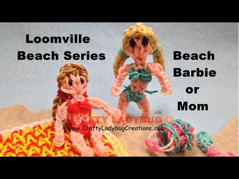 Rainbow Loom Band BEACH BARBIE OR MOM FIGURE Advanced Tutorials/How to Make by Crafty Ladybug