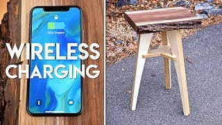 Live Edge End Table with Wireless Charging // Flat Pack Furniture Woodworking Project