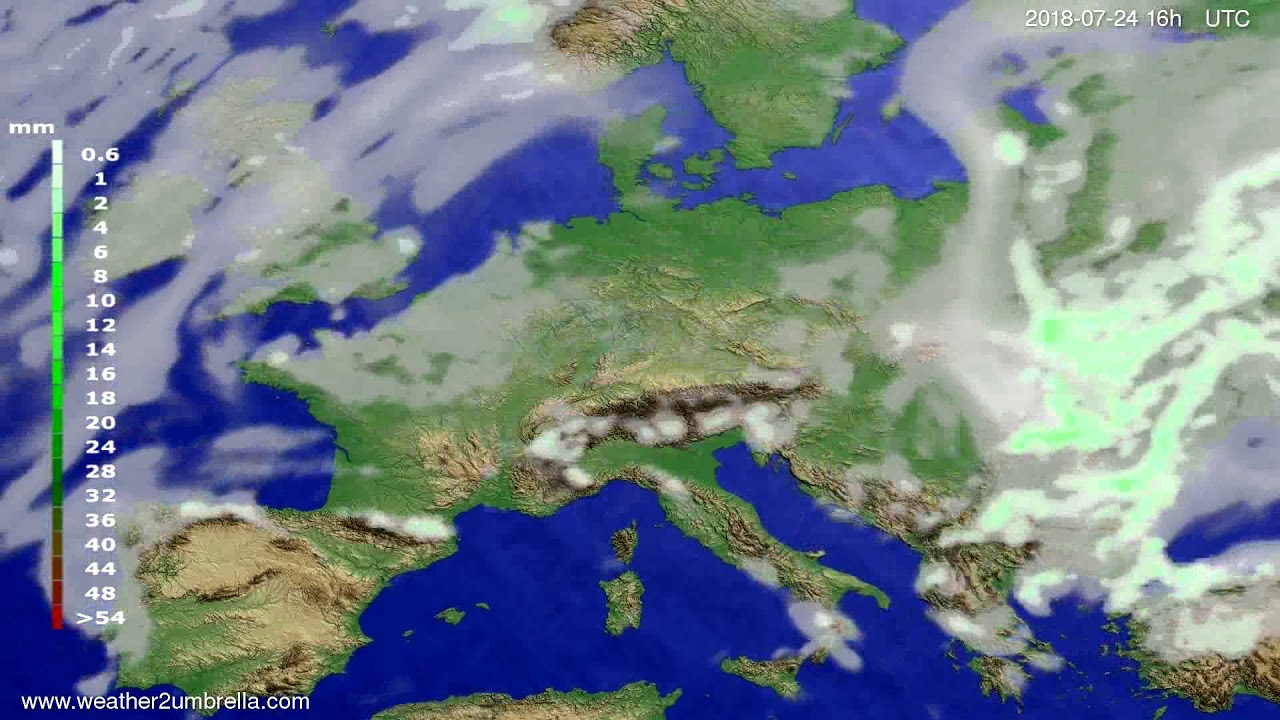 Precipitation forecast Europe 2018-07-21