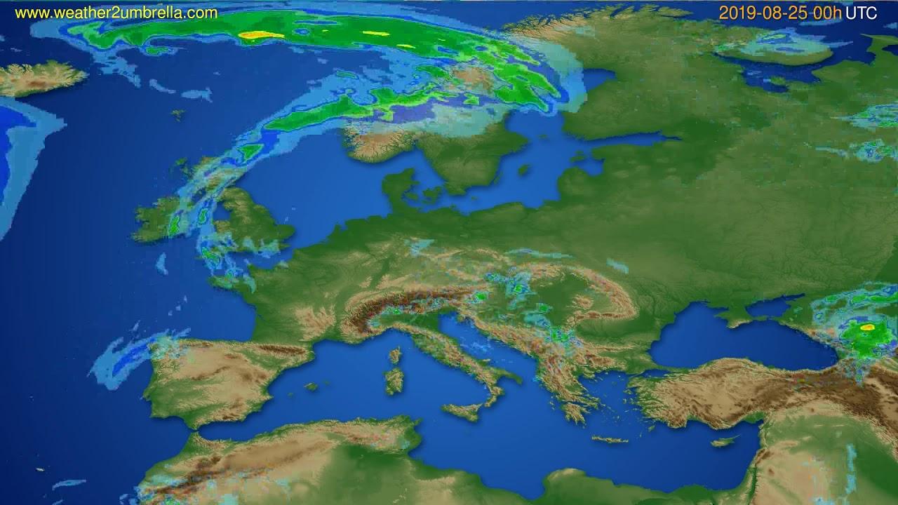 Radar forecast Europe // modelrun: 12h UTC 2019-08-24