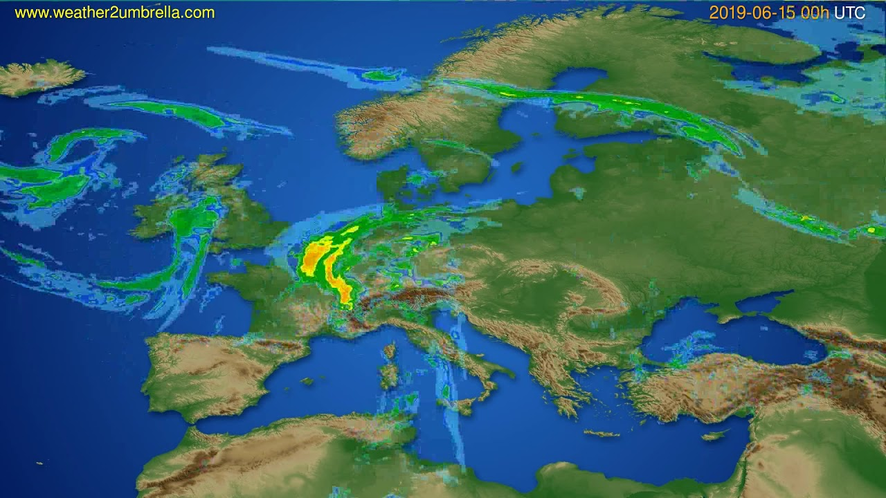 Radar forecast Europe // modelrun: 12h UTC 2019-06-14