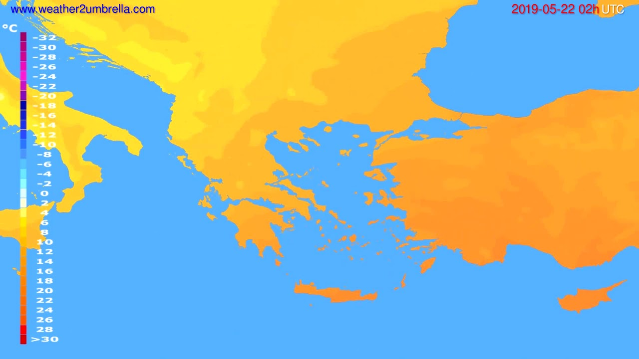 Temperature forecast Greece // modelrun: 00h UTC 2019-05-19