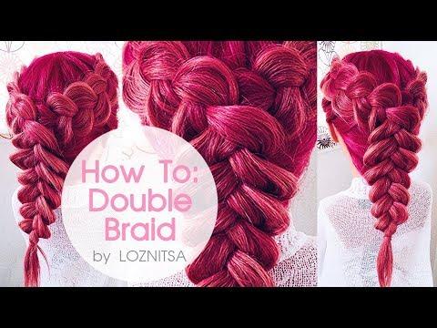 Как соединить две обратные косы в одну ? ... Прическа на 1 сентября ★ How To: Double Dutch Braid (видео)