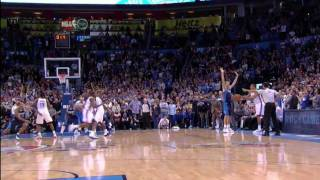 The Oklahoma City Thunder overcame 26 turnovers and star forward Kevin Durant overcame a defensive mistake when he nailed a 3-pointer at the buzzer to give his team a thrilling 104-102 win over the Dallas Mavericks Thursday night.