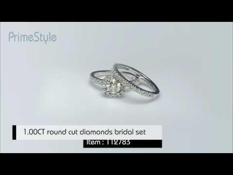 1.00CT round cut diamonds bridal set