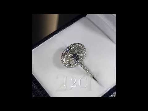 2.02 ct Oval cut Diamond Halo Engagement Ring in Cathedral Band
