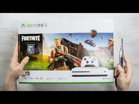 Xbox ONE S - FORTNITE Console Unboxing + EON SKIN BUNDLE