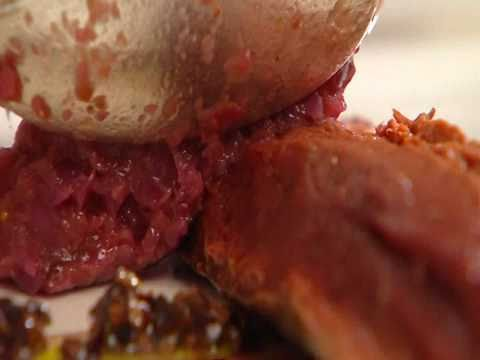 Hazenrug met geplette aardappel