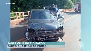 Carro quase cai de ponte em Santa Cruz do Rio Pardo