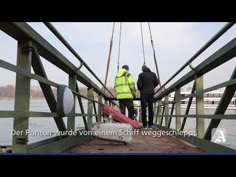 Mainz: Landungsbrücke wurde am Winterhafen demontiert