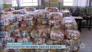 Piratininga entrega cestas básicas para famílias de alunos da rede municipal