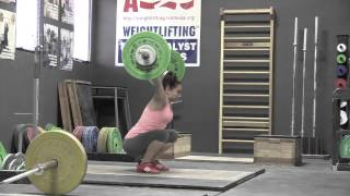 Audra front squat, Alyssa no jump snatch, Steve front squat, Audra clean. - Weight lifting, Olympic, weightlifting, strength, condition