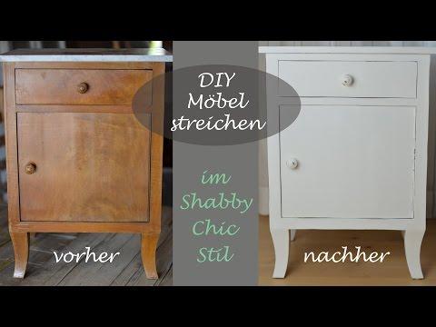 DIY - Shabby Chic Stil - Altes Schränkchen mit weißer Kreidefarbe streichen