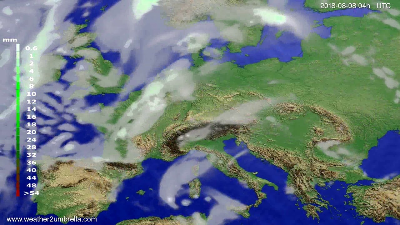 Precipitation forecast Europe 2018-08-04