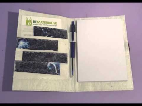 Our range of Notebooks, all made out of recycled plastic bags