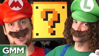 """Game Grumps Dan & Arin test their Super Mario knowledge while smashing some mystery blocks. GMM #1148Don't miss Dan & Arin over on the Game Grumps: http://youtube.com/GameGrumpsSUBSCRIBE to GMM: http://bit.ly/subrl2  Watch today's GMMore episode: http://bit.ly/TacDexGrumps  Don't miss This Is Mythical: http://bit.ly/TacoMukbangJoin us in donating to The Trevor Project at http://www.thetrevorproject.org to help them provide crisis intervention and suicide prevention services to lesbian, gay, bisexual, transgender and questioning (LGBTQ) young people ages 13-24.For rules and more info on how to submit a #10SecondTour go to http://www.rhettandlink.com/10secondtourFollow Rhett & Link:Facebook: http://facebook.com/rhettandlinkTwitter: http://twitter.com/rhettandlinkTumblr: http://rhettandlink.tumblr.comInstagram: http://instagram.com/rhettandlinkOther Rhett & Link Channels:Main Channel: https://youtube.com/rhettandlinkGood Mythical MORE: https://youtube.com/user/rhettandlink3Rhett & Link EXTRAS: https://youtube.com/user/rhettandlink4GMM Merch: http://bit.ly/RhettLinkStoreWatch More GMM:Choose a Season:  http://bit.ly/2axhxZNPopular Videos: http://bit.ly/2afIJ12Latest Uploads: http://bit.ly/2aZMw3KWill It?: http://bit.ly/2a64BiVTaste Tests: http://bit.ly/2a4v5hZListen to our FREE podcast, Ear Biscuits:Apply Podcasts: http://apple.co/29PTWTMSpotify: http://spoti.fi/2oIaAwpArt19: https://art19.com/shows/ear-biscuitsJOIN the RhettandLinKommunity: http://bit.ly/rlkommunityMail us stuff to our P.O. Box: http://rhettandlink.com/contactSubmit a Wheel of Mythicality intro video: http://bit.ly/GMMWheelIntroWe are two Internetainers dedicated to giving you a daily dose of casual comedy every Monday-Friday on our show """"Good Mythical Morning."""" Thanks for making us a part of your daily routine. Be your mythical best! - Rhett & LinkCredits:Executive Producer: Stevie Wynne LevineWriter/Producer: Edward Coleman Writer/Producer: Lizzie BassettWriter/Producer: Kevin KostelnikWriter/Produce"""