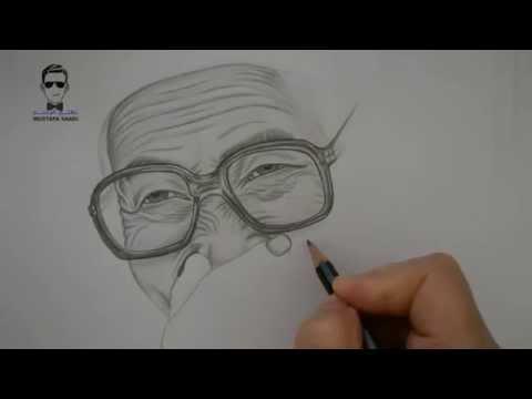 تعلم رسم امراة عجوز ( امرأة مسنة ) how to draw an old woman