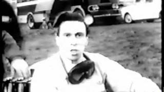 Jim Clark, world champion driver,does a commercial for BSM(British School of Motoring) 1964