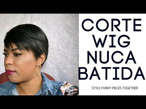 Como fazer corte de cabelo curtinho nuca batida em protese capilar lace wig