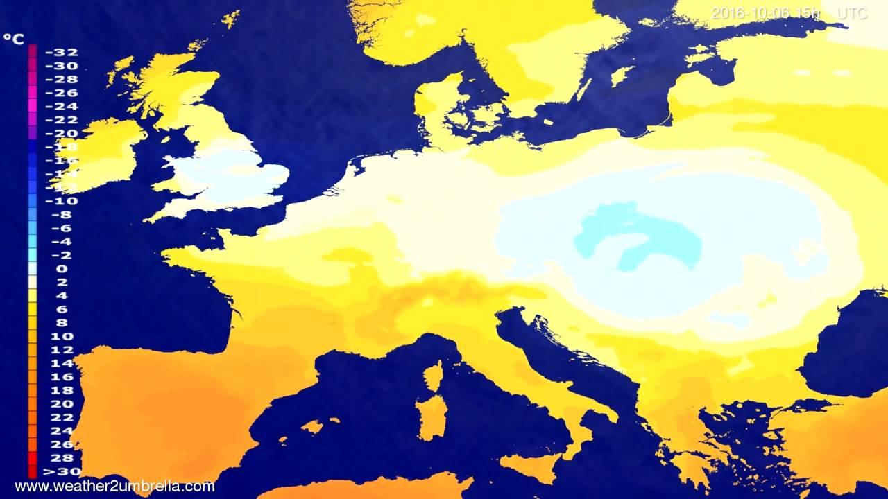 Temperature forecast Europe 2016-10-04