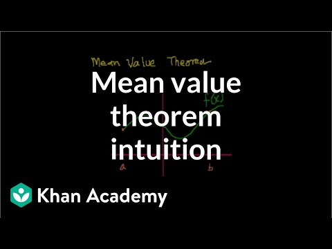 mean - Learn more: http://www.khanacademy.org/video?v=bGNMXfaNR5Q Intuition behind the Mean Value Theorem.