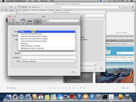 How to add Windows shared Printer to MAC OS x Macbook Pro