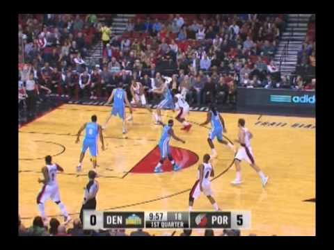 Batum to Hickson for a Dunk against Nuggets