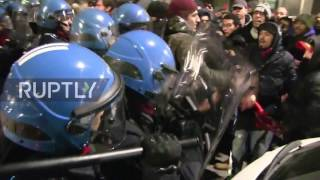 Italy: Antifa protesters clash with police outside right-wing memorial assembly