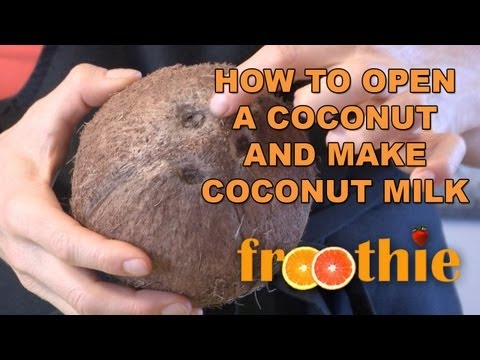 how to open a raw coconut