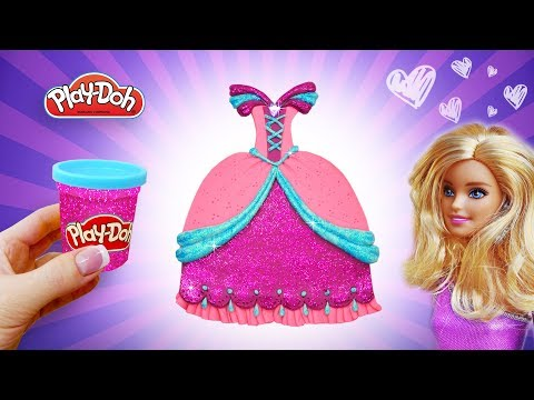 Learn Colors Play Doh Barbie Princess Sparkle Dress. Play Doh Art. Video for Kids. Crafts for Girls