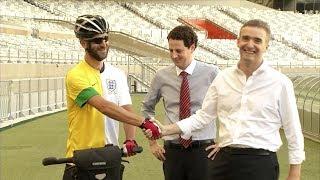 VÍDEO: Ciclista inglês e embaixador do Reino Unido visitam o Mineirão