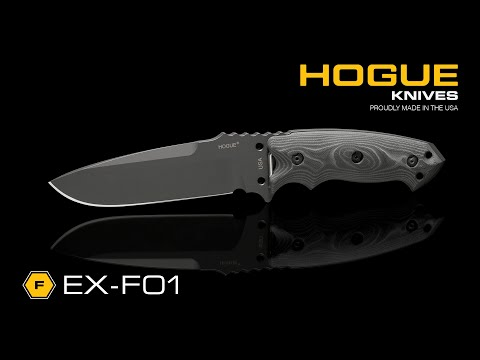 "Hogue Knives EX-F01 Large Tactical Fixed Blade Knife Black G10 (7"" Plain) 35159"