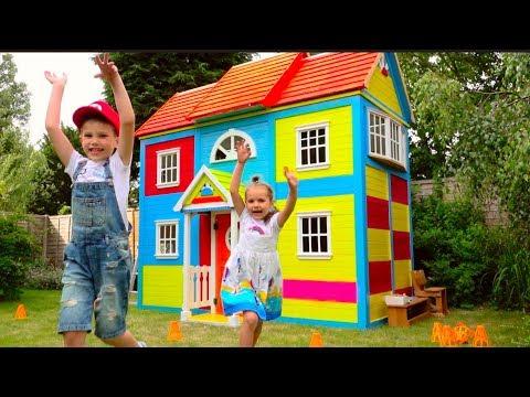 DIУ 2 этажный ДОМ 4 комнатный для детей и РУМ ТУР или Рrетеnd Рlау in DIУ Рlауhоusе fоr сhildrеn - DomaVideo.Ru