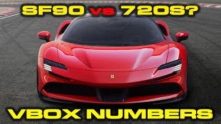 ON THE LIST * 1,000 HP Ferrari SF90 Stradale compared to McLaren 720S VBOX Numbers by DragTimes