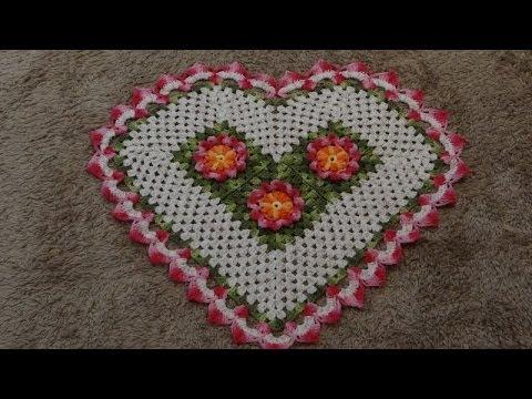 Passo a passo Tapete Coração em Crochê Parte-1